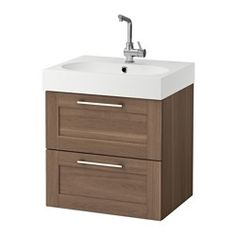 IKEA - GODMORGON / BRÅVIKEN, Sink cabinet with 2 drawers, walnut effect, 60x49x68 cm, , 10-year Limited Warranty. Read about the terms in the Limited Warranty brochure.Smooth-running and soft-closing drawers with pull-out stop.Drawers made of solid wood, with bottom in scratch-resistant melamine.You can easily customize the size of the drawer by moving the divider.You can easily see and reach your things because the drawers pull out fully.The included water trap is easy to connect to the…