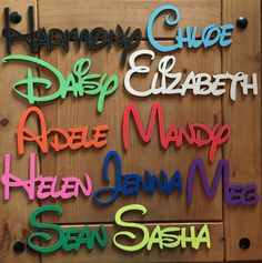 Personalised wooden names, Disney font, Laser cut, only 99p per letter, personalised to suit, hand made, wall art and door craft by CraftedHearts1166 on Etsy https://www.etsy.com/listing/210096088/personalised-wooden-names-disney-font
