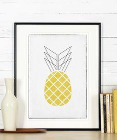 Retro Küche Poster, Ananas, minimalistisch von Emugallery auf DaWanda.com