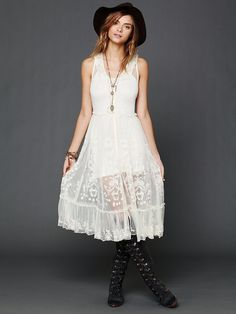 Intimately Embroidered Button Front Slip at Free People Clothing Boutique