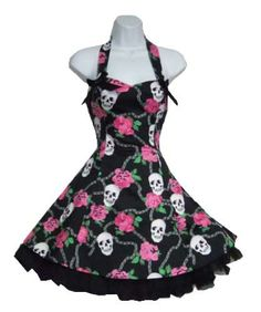 Rockabilly dress with pink roses and skulls