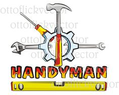 HANDYMAN DIY Vector CLIPART, tools cartoon clipart eps, ai, cdr, png, jpg, hammer, wrench, screwdriver, rack clip art by ottoflickvector on Etsy