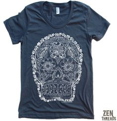 Womens DAY Of The DEAD 2 TShirt american apparel S M by ZenThreads, $18.00