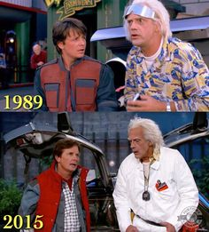 Marty McFly and Doc Brown, 26 years apart Doc Brown Costume, Michael J Fox Young, Back To The Furture, Marty Mcfly Costume, Stephanie Tanner, Marvel Actors, Marvel Dc, The Future Movie, Celebrities Then And Now