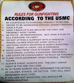 US Marine Corps Rules For Gunfighting
