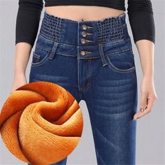 WKOUD Winter Fleece Jeans Mujer Women 4 Button Warm Denim Pencil Pants Fashion High Waist Thick Trousers Streetpants Jeans from Women's Clothing on AliExpress - Day Pants For Women, Clothes For Women, Jeans Women, Plus Size Jeans, Fashion Pants, Mom Jeans, Women's Jeans, Denim Shorts, Trousers