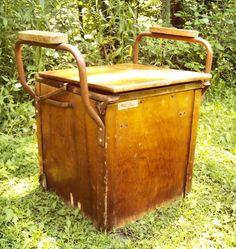 Antique Wooden Commode Enamel Chamber Pot Potty Chair Primitive Farmhouse Old
