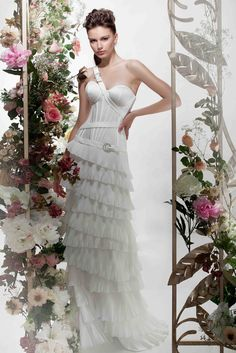 """Corset based Wedding Dress from Papilio """"Flower Cocktail"""" Bridal Collection , made of silk satin and taffeta."""
