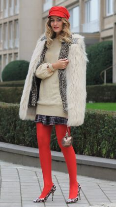 Canoa -  As first seen on blog From Brussels With Love: Canoa  She is wearing tights similar here: Red Coloured Tights The coloured tights accessories features classic nylon tights in a bold color.  #tights #pantyhose #hosiery #nylons #tightslover #pantyhoselover #nylonlover #legs
