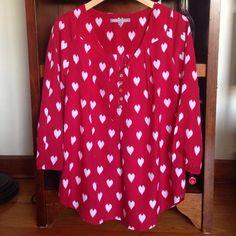 Daniel Rainn Stitch Fix red heart top Beautiful Daniel Rainn Stitch Fix red heart top. Size large fits size 10/12/14. 3/4 sleeves. No trades. Daniel Rainn Tops