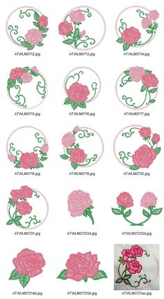 Rose-Circles Embroidery Designs