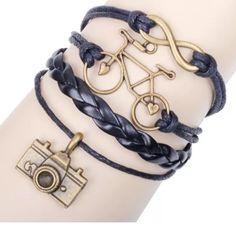 Infinity Camera Bike Bracelet NWOT infinity bike camera bracelet. Color Black.                                                                         ⚜2 available 🔱 Jewelry Bracelets