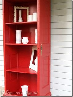 repurposed door bookcase diy (For those broken accordion doors maybe?)