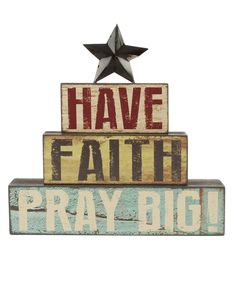 'Have Faith' Stacked Letter Block with Star