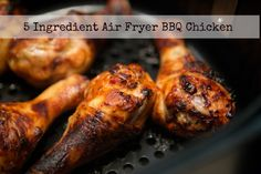 Simple and Easy 5 Ingredient Air Fryer BBQ Chicken Drumsticks.  Perfect for picnics, game days, or just because!  There's a recipe video, too!