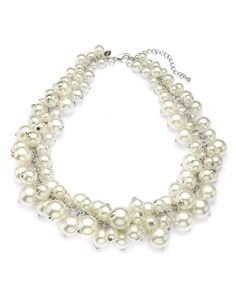 M&S Collection Pearl Effect Cluster Necklace