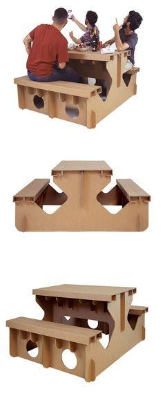 Cardboard Furniture, Cardboard Crafts, Upcycled Furniture, Furniture Making, Mesa Picnic, Picnic Table, Carton Design, Cardboard Display, Paper Board