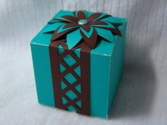Teal and Brown Flower Box by Vikster on Etsy, $3.50