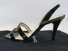Chanel Black Shiny Slingback Heels Gold Plate Chanel Etched Dust Cover Sz 39 HC #CHANEL #Slingbacks #CasualWorkDinnerWedding
