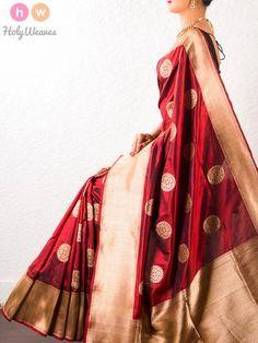 Maroon Handwoven Katan Silk Kadhuan Brocade Saree : Pinned by Sujayita Kerala Saree, Indian Silk Sarees, South Indian Wedding Saree, Saree Wedding, Indian Dresses, Indian Outfits, Brocade Saree, Formal Saree, Traditional Sarees