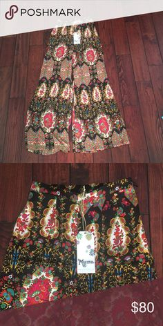 SMYM wide leg pants Fun patterned pants with a wide flare! No stretch! Fits true to size! Show Me Your MuMu Pants Boot Cut & Flare