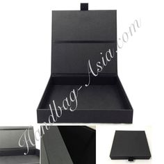 Black wedding invitation box featuring paper and ribbon holder. Perfect for DIY invitation projects or any wedding invitation requiring luxury, handmade boxes.