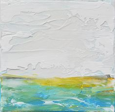 Abstract Landscape Field Painting, Original Minimalist Painting , Minimalist Abstract, Yellow Green Abstract  by Andrada
