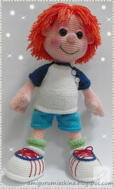 I love this little amigurumi boy doll. There is no pattern, but he is so danged… Crochet Cow, Free Crochet Bag, Crochet Baby Toys, Crochet Teddy, Crochet Toys Patterns, Stuffed Toys Patterns, Doll Patterns, Knitted Dolls, Crochet Dolls