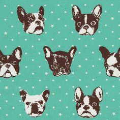 By the yard Kokka French Bulldog Mint Japanese by fabricdivas