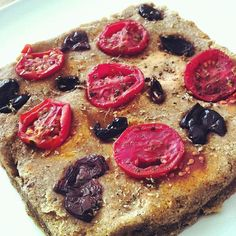 #raw #focaccia #pugliese with local #olives and #tomatoes