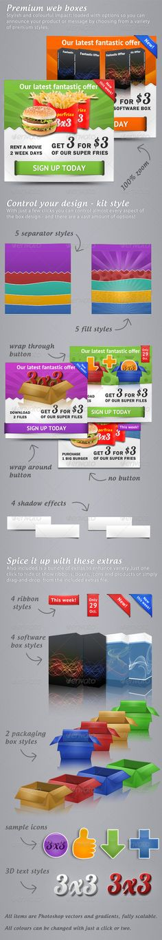 Premium web boxes  #GraphicRiver         This complete set of web boxes will work in every configuration.