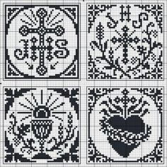 Four squares with Catholic cross stitch Cross Stitching, Cross Stitch Embroidery, Embroidery Patterns, Crochet Patterns, Filet Crochet, Crochet Cross, Crochet Chart, Cross Stitch Numbers, Cross Stitch Heart