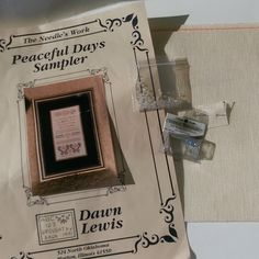Peaceful Days Cross Stitch Sampler On Linen W Fabric Beads 70x138 Lewis Peace #TheNeedlesWork #Antiqued