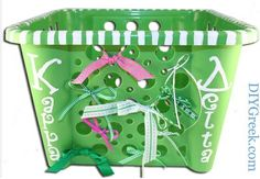 """even your laundry basket can """"go greek""""! can use as container for little/daughter gifts"""