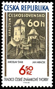 Karlštejn castle by Jaroslav Šváb Interesting Buildings, Coin Collecting, Czech Republic, Postage Stamps, Childhood, Baseball Cards, Traditional, Retro, Walking Canes