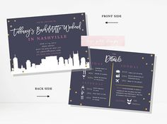 Items similar to Nashville Bachelorette Party Invitation and Itinerary, Nashville Bachelorette Party Printable Invitation, Nashville Skyline Invitation on Etsy Bachelorette Party Invitations, Bachelorette Weekend, Names Of Hotels, Nashville Skyline, Youre Invited, Party Time, Rsvp, Cards Against Humanity, Handmade Gifts