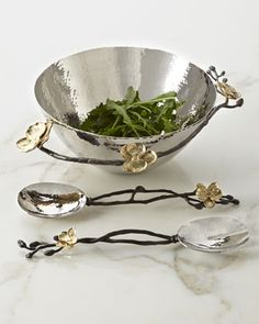 """Gold Orchid"" Bowl & Servers by Michael Aram at Neiman Marcus."