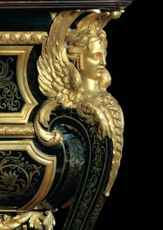 Sphinx detail on a Boulle designed commode. I have always been in love with Boulle design, the gilding, the marketry, everything about every piece is just wonderful.