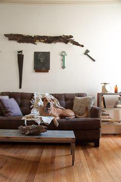 The living room from Sean Wrafter's home tour on Design*Sponge Home Design Decor, Home Interior Design, House Design, Nordic Home, Beach House Decor, Living Room Designs, Living Rooms, Apartment Design, Dog Design