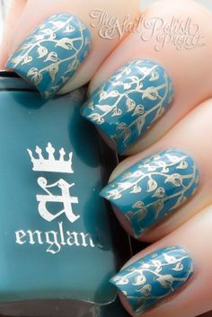 Base of A England Galahad. Sponged w/ a very subtle gradient using OPI Suzi Says Feng Shui. Stamped w/ the vine pattern from Mash-50 plate using China Glaze Passion.