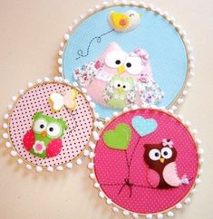 """these embroidery hoops would look adorable nestled along balloons and pom poms for a birthday party """"_ Owl Crafts, Diy And Crafts, Crafts For Kids, Arts And Crafts, Craft Projects, Sewing Projects, Embroidery Hoop Crafts, Little Presents, Felt Owls"""