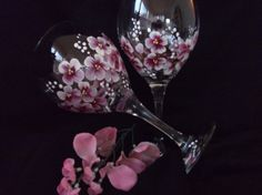 Cherry Blossom hand Painted Wine Glasses by susanruth41 on Etsy, $12.00