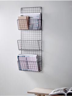 Wall Shelves & Hooks, Small Metal & Wooden Kitchen Shelves with Hooks UK Wire Magazine Rack My New Room, My Room, Wooden Shelves Kitchen, Minimalist Desk, Cute Room Decor, Aesthetic Room Decor, Decoration Inspiration, Wall Racks, Bedroom Decor