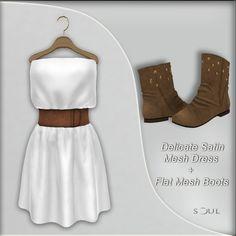 !Soul ~ Delicate Satin Mesh Dress White + Flat Mesh Brown Boots