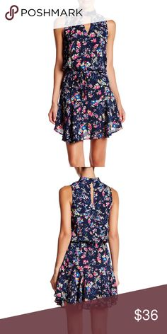 Mock Neck Navy Floral Print Dress Mock neck.  Back keyhole.  Drawstring waist.  Approximately 36 inches in length. Socialite Dresses