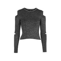 TopShop Slash Marl Crop Top (£32) ❤ liked on Polyvore featuring tops, monochrome, topshop tops, cut-out crop tops, crop top, twist top and cut out top