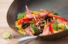 Wok-fried vegetables, salmon strips, peanut oil, jasmine, coriander, lime Peanut Oil, Fried Vegetables, Coriander, Wok, Jasmine, Salmon, Lime, Dishes, Ethnic Recipes