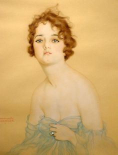 Raphael Kirchner (1876 – 1917) Young Woman in Blue Chiffon and Pearl Ring Kirchner was an Austrian portrait painter and postcard illustrator...