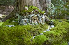 Stone house at the base of a tree with stone walkway and roof covered in moss...