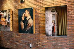 Photos from the couples engagement shoot were featured on billboards as guests entered the theater. #wedding #engagementshoot #engagementphotos #wedding